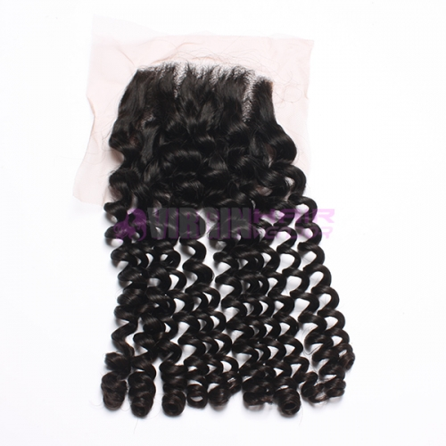 8-18 Inch Top Gade 4x4 inch Lace Closure Kinky curl Free part & Middle part