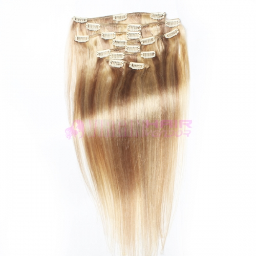18#613 Grade 7A 100% Remy Natural Clip In Human Hair Extensions Brazilian Virgin Hair Clip In Extension Straight